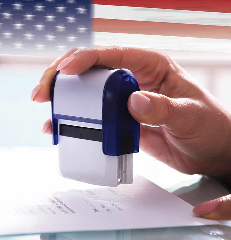notary stamp and American flag