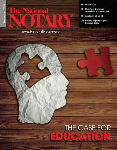 National Notary Magazine Cover December 2015