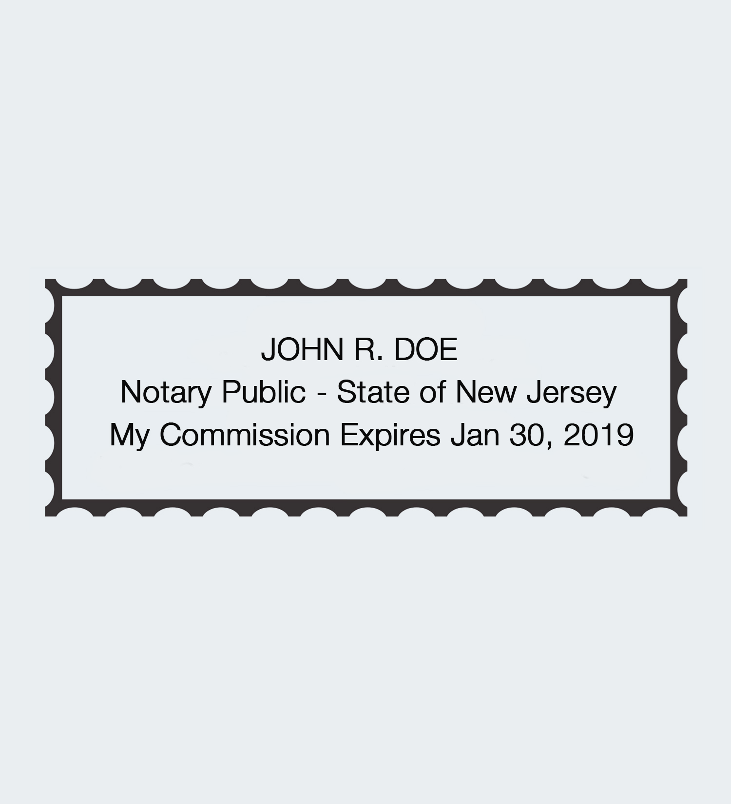 New Jersey Rectangular Seal Impression Stamp