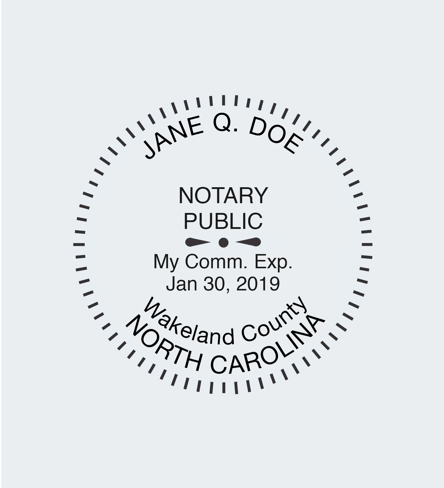North Carolina Round Seal Stamp Impression