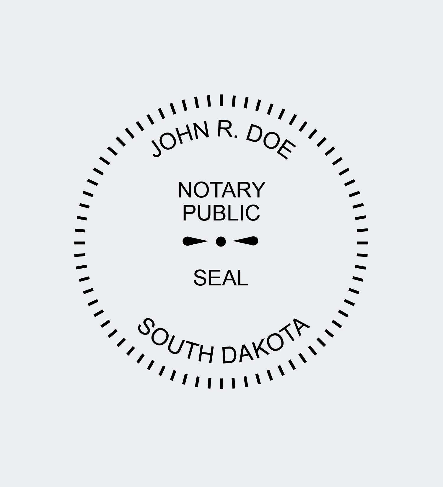South Dakota Round Seal Stamp Impression