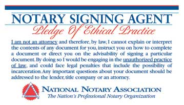 Signing agent pledge card nna nna notary signing agent pledge of ethical practice publicscrutiny Image collections