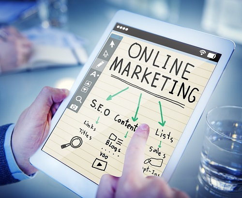 Tablet with notes about an online marketing strategy