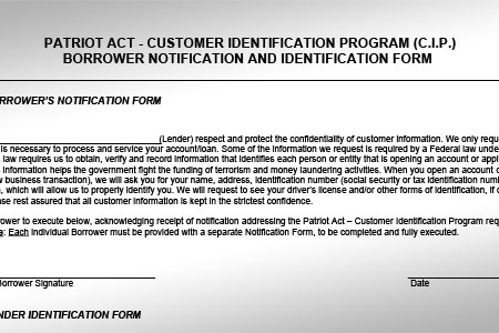 Sample USA PATRIOT Act CIP Form for Notary Signing Agents