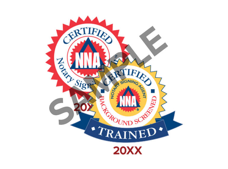 Sample badges for Notary Signing Agents