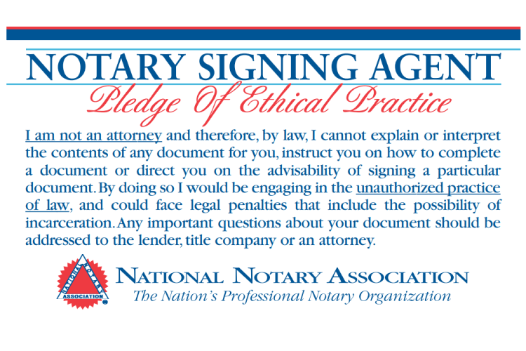 Notary Signing Agent Pledge Card
