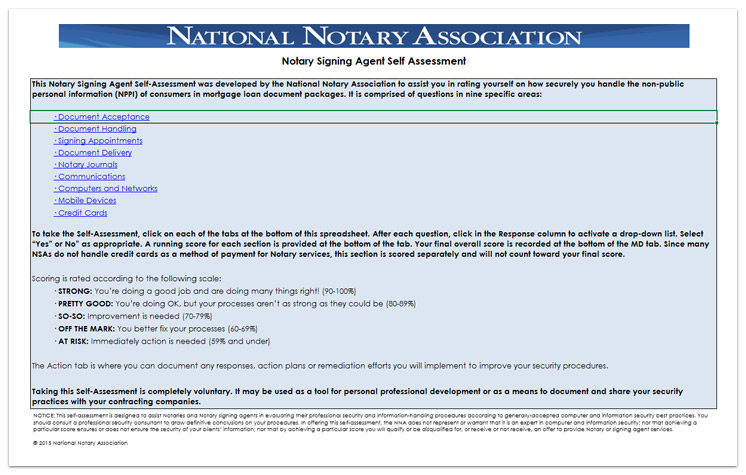 Notary Signing Agent Self Assessment