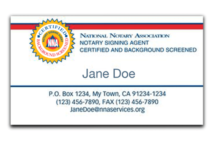 Sample Signing Agent business card