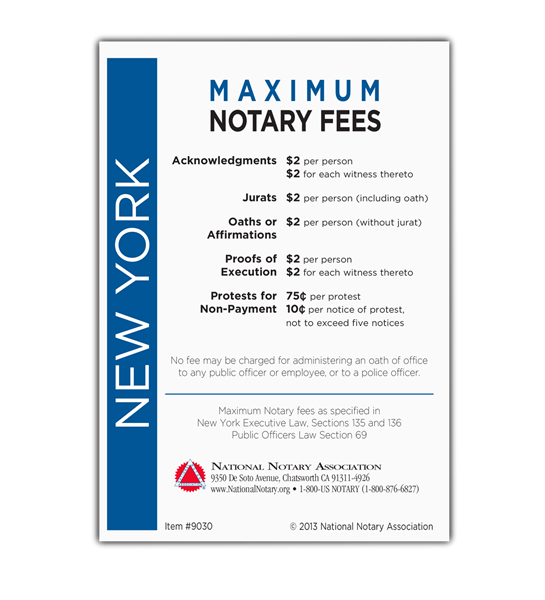 New York Fee Schedule & Frame