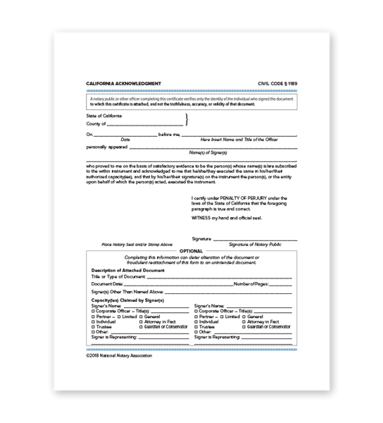 image regarding Printable Notary Forms identify California Acknowledgment NNA