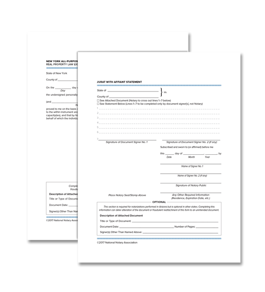 New York Acknowledgment and Jurat Certificate Bundle