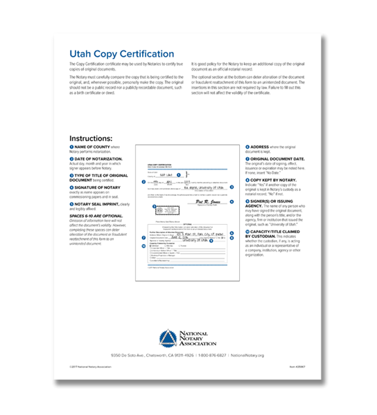 Utah Copy Certification