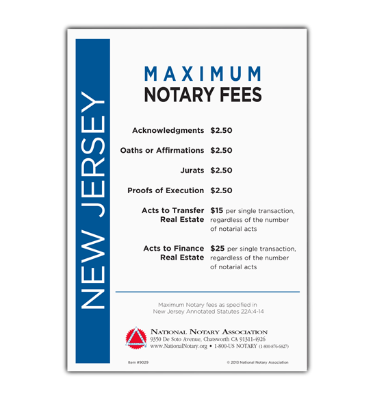 New Jersey Fee Schedule & Frame