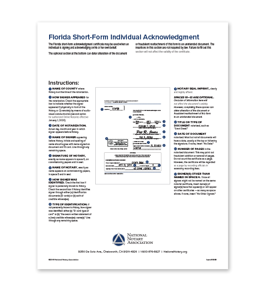 Florida Individual Acknowledgment