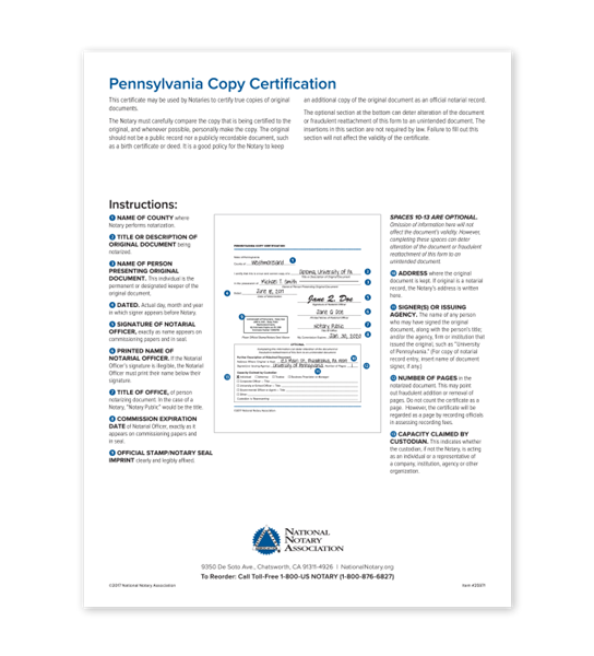 Pennsylvania Copy Certification