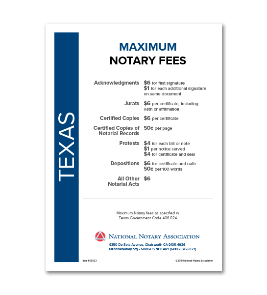 Texas Fee Schedule & Frame