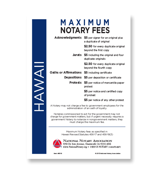 Hawaii Fee Schedule & Frame