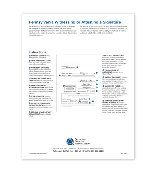 Pennsylvania Witnessing or Attesting a Signature