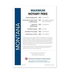 Montana Fee Schedule & Frame