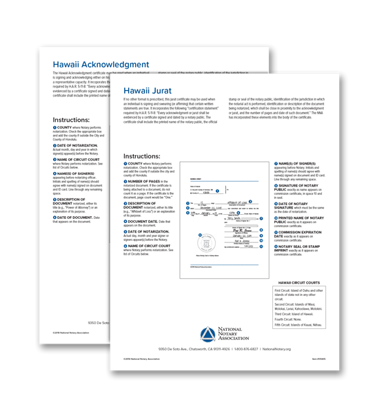 Hawaii Acknowledgment and Jurat Certificate Bundle