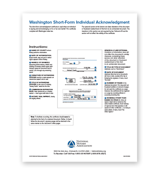 Washington Individual Acknowledgment