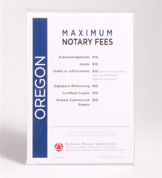 Oregon Fee Schedule & Frame