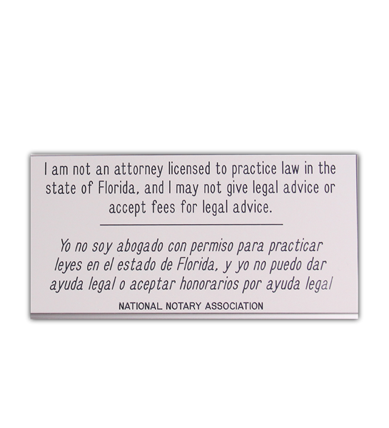 Florida Not An Attorney Sign