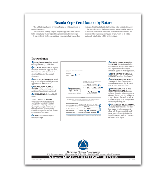 Nevada Copy Certification by Notary