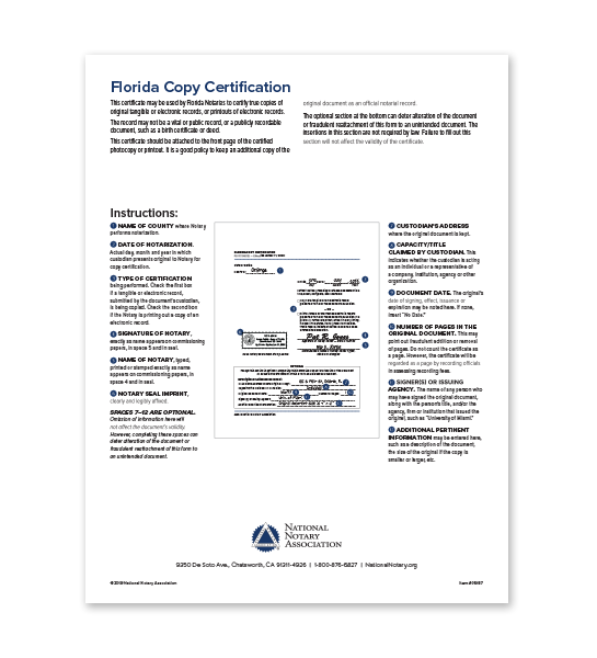 Florida Copy Certification
