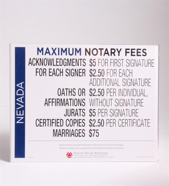 Nevada Fee Schedule & Frame